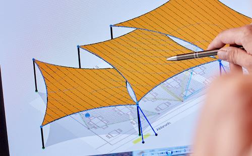 Sonnensegel Design mit CAD